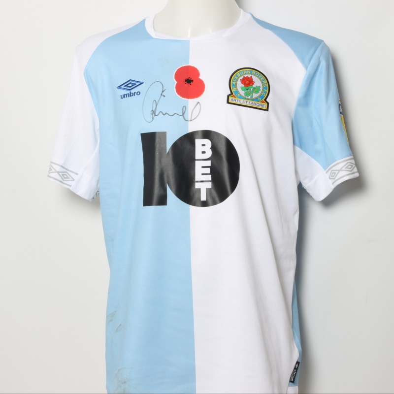 Jack Rodwell's Match-Worn Blackburn Rovers Signed Poppy Home Shirt