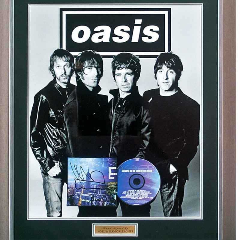 Oasis 'Definitely Maybe' Album Cover Presentation Hand Signed by Noel & Liam Gallagher