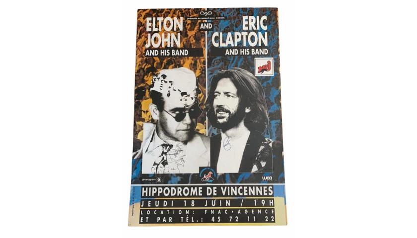 Elton John and Eric Clapton Signed Original Marketing Billboard