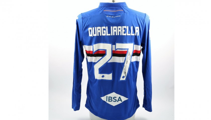 Quagliarella's Match-Issued and Signed Sampdoria Shirt, Serie A 2017/18