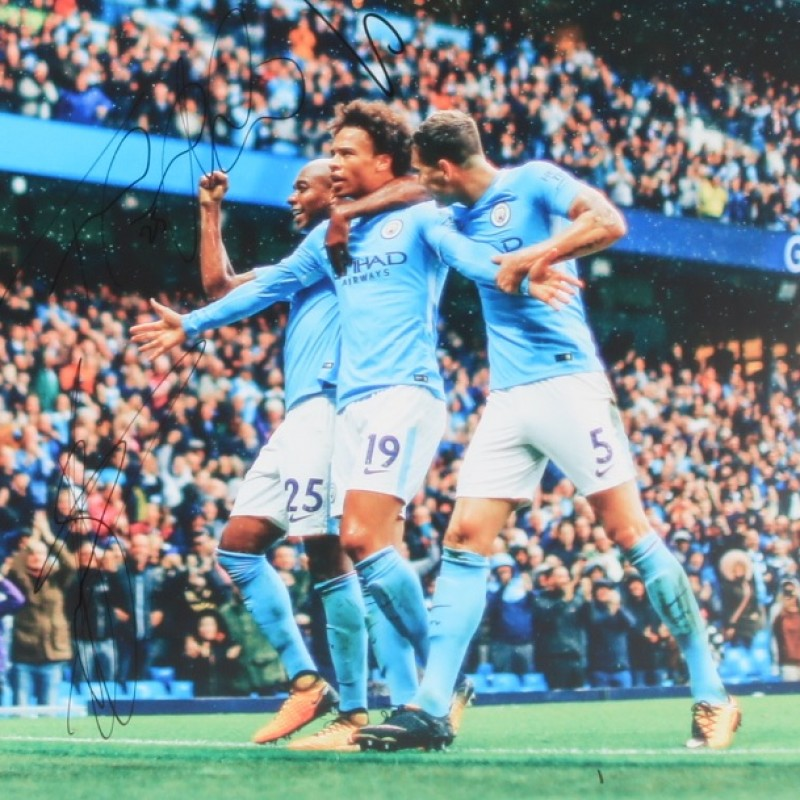 """Manchester City vs Liverpool"" Photograph Signed by Stones, Sane, Fernandinho"