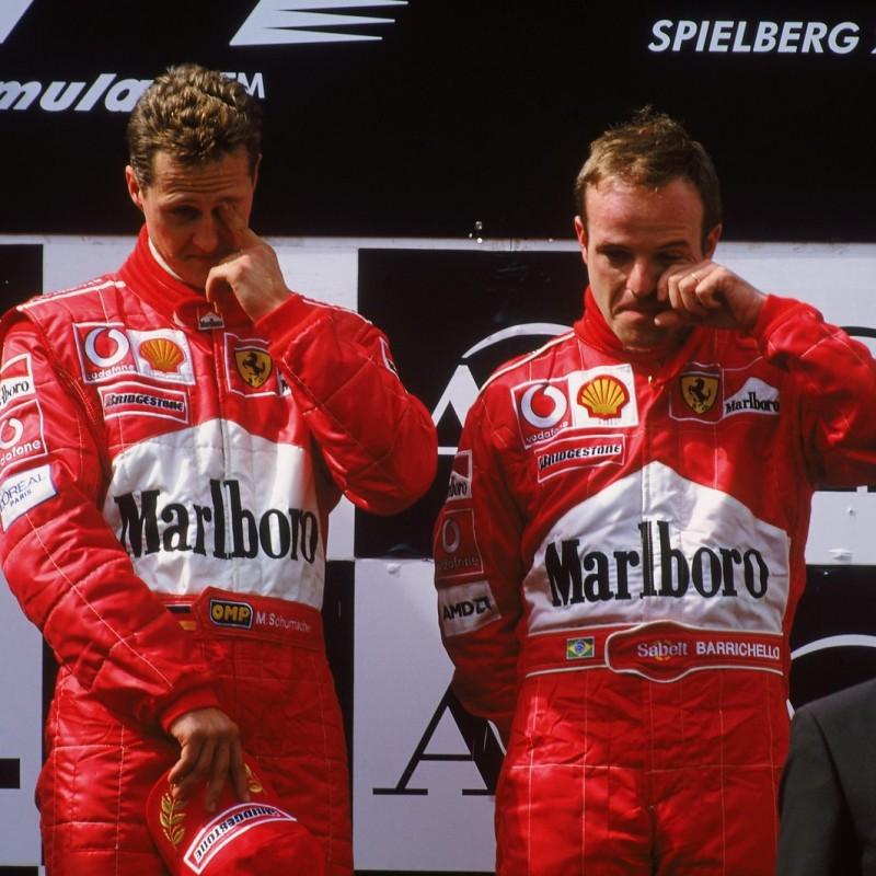 Official Ferrari Flag Autographed by Schumacher and Barrichello