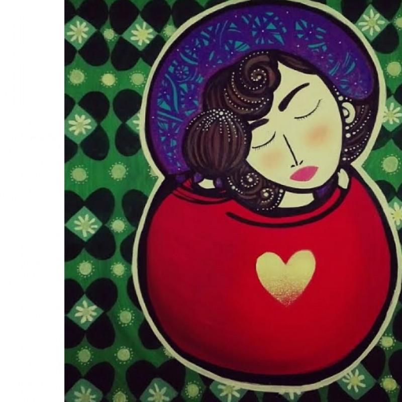 """Nais """"Impalpable love"""" - acrylic and spray on canvas – 50x50 cm"""
