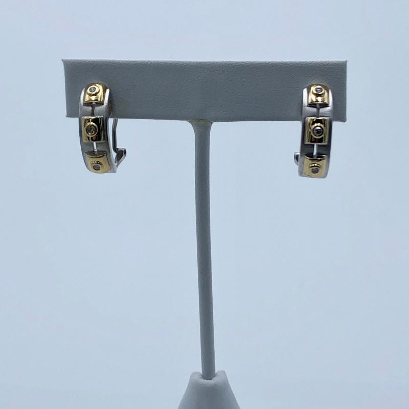 14KT Two-Tone Omega Back Diamond Earrings