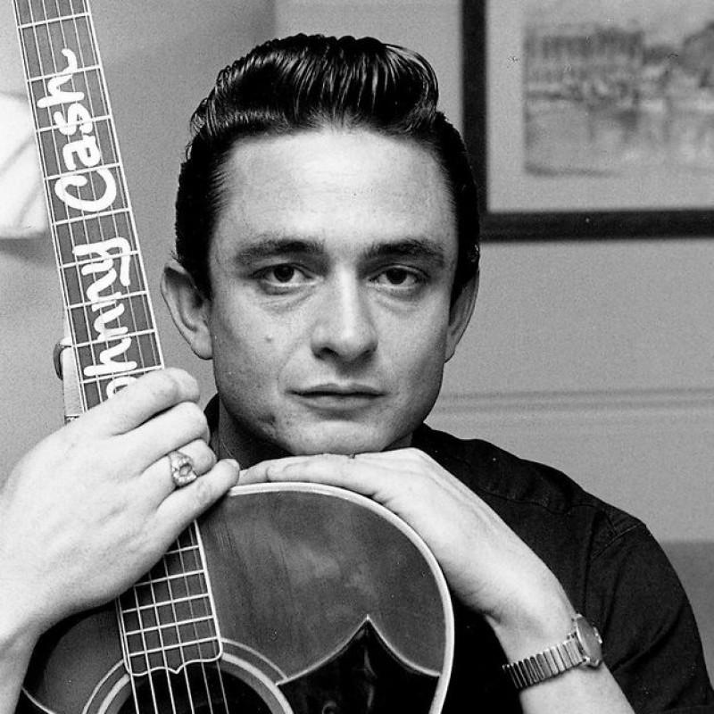 Johnny Cash Guitar with Digital Signature