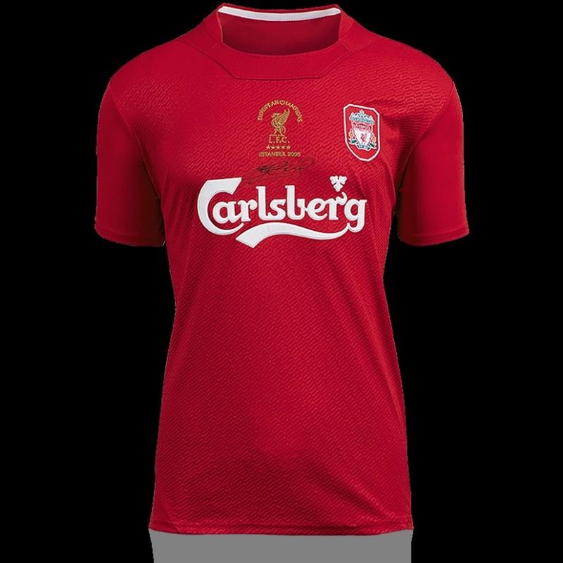 Steven Gerrard Front Signed Liverpool 2005 Home Shirt: UEFA Champions League Final Edition