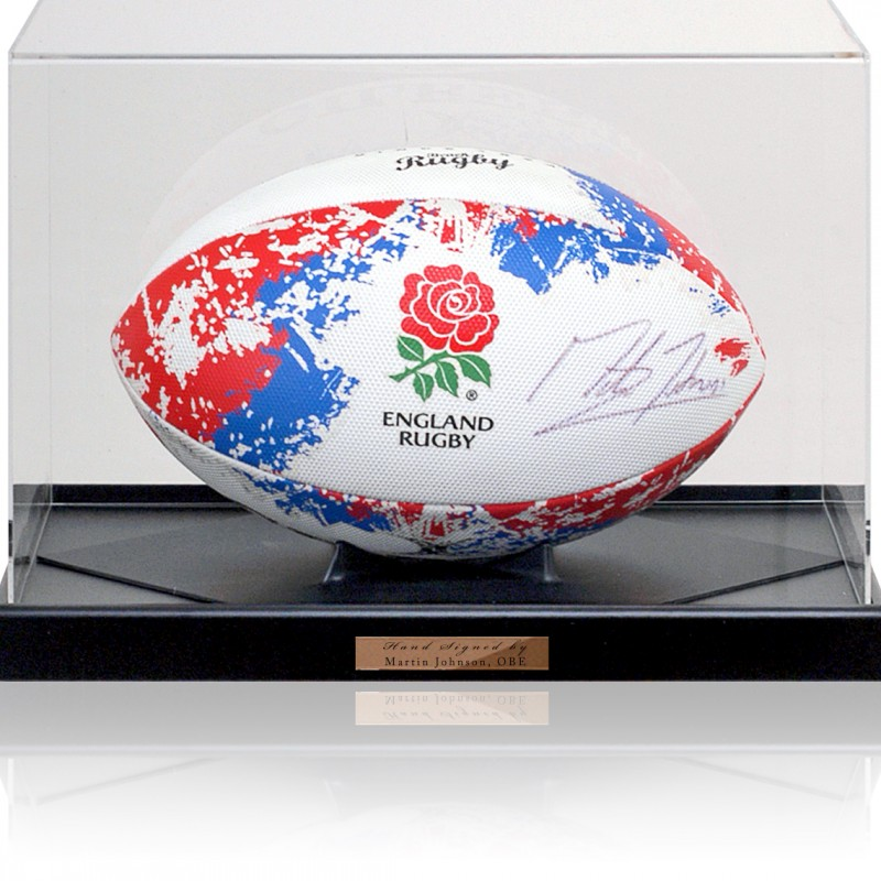 Martin Johnson OBE Hand Signed England Rugby Ball Photo COA