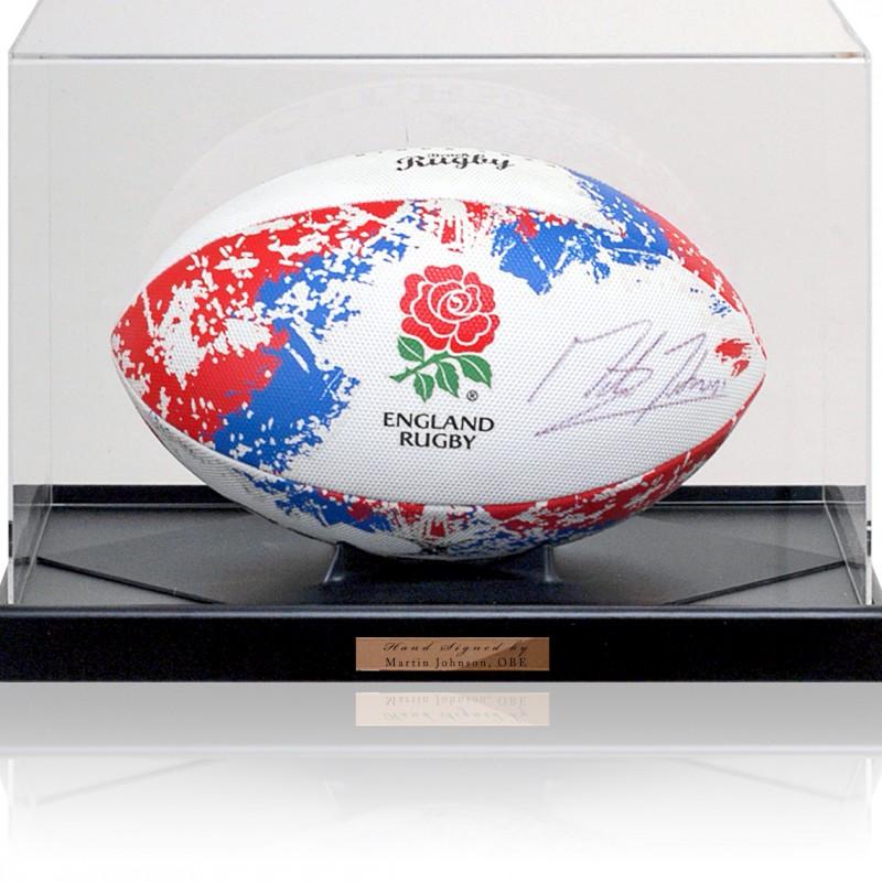 Martin Johnson OBE Hand Signed England Rugby Ball Photo COA