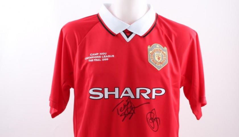 new styles 9aeb3 ae97c Official Replica Manchester United Champions League 1999 Shirt Signed by  Solskjær and Sheringham - CharityStars