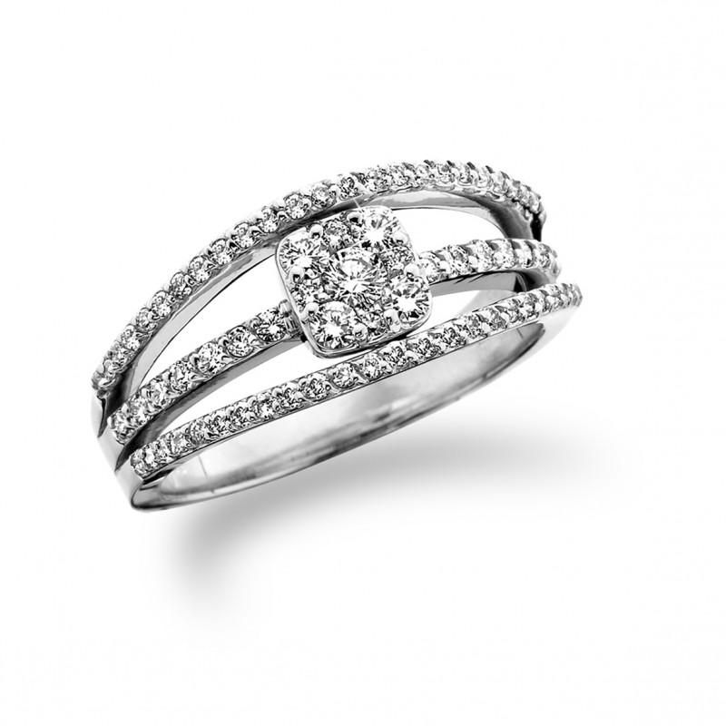 14KT White Gold Split Shank Diamond Ring