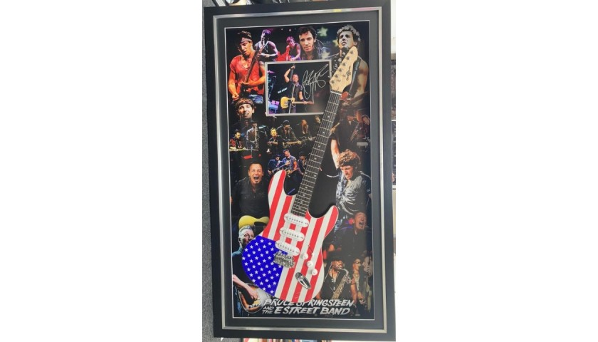 Bruce Springsteen Signed, Framed and LED Lit Photo and Guitar Display