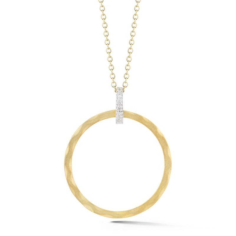 14 Karat Yellow Gold Round Shaped Pendant Necklace