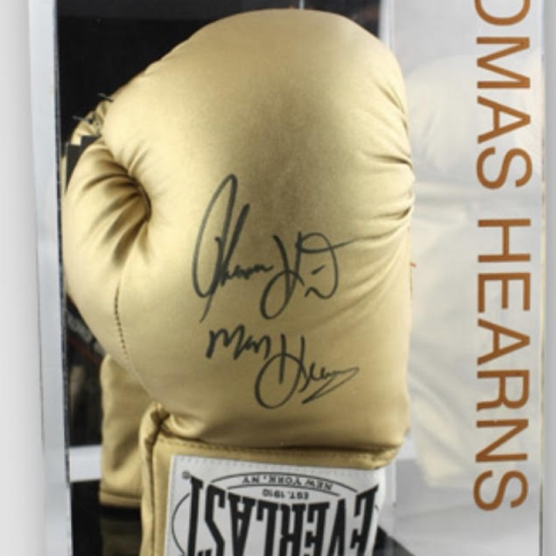 Thomas 'Hitman' Hearns Signed Gold Everlast Boxing Glove