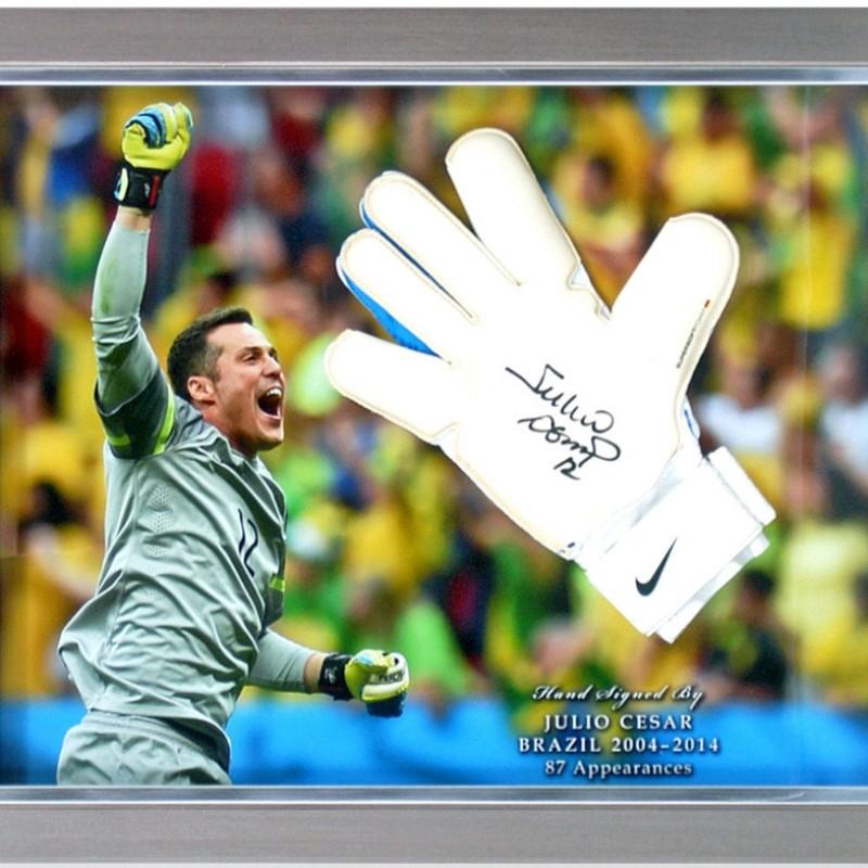 Júlio César Hand-Signed Brazil Goalkeeping Glove Presentation