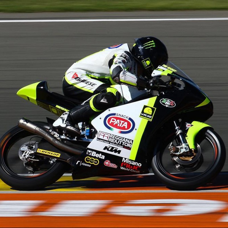 Dennis Foggia's Worn and Signed VR46 Academy Helmet, Italian Motorbike Championship 2016