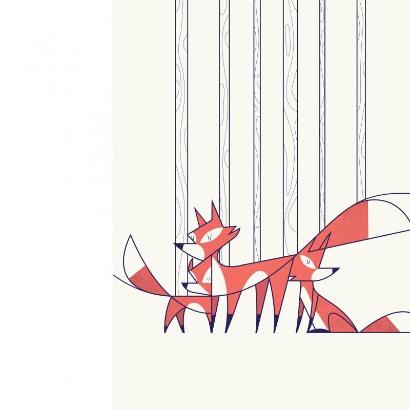"""Foxes"" print by Ale Giorgini"