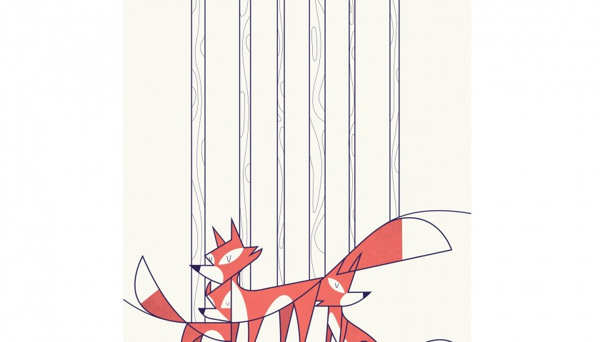 """Foxes"" print by Ale Giorgini"
