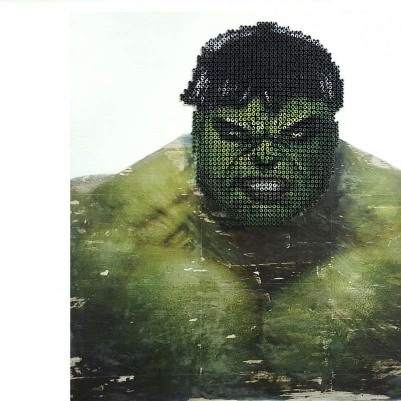 """Hulk"" - acrylic on 2000 self-tapping screws - Drill Monkeys Art Duo - 81x81x7 cm"