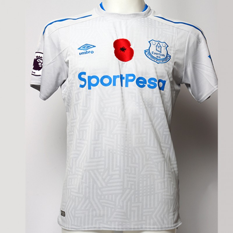 Worn Poppy Away Game Shirt Signed by Everton FC's Oumar Niasse