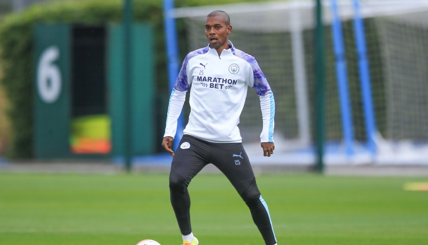 Manchester City PUMA 2019/20 Worn Mid-Layer Training Top - Fernandinho