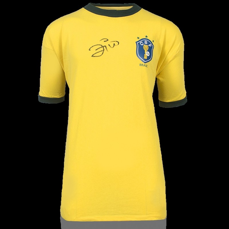 Zico Front Signed Brazil 1982 Home Shirt