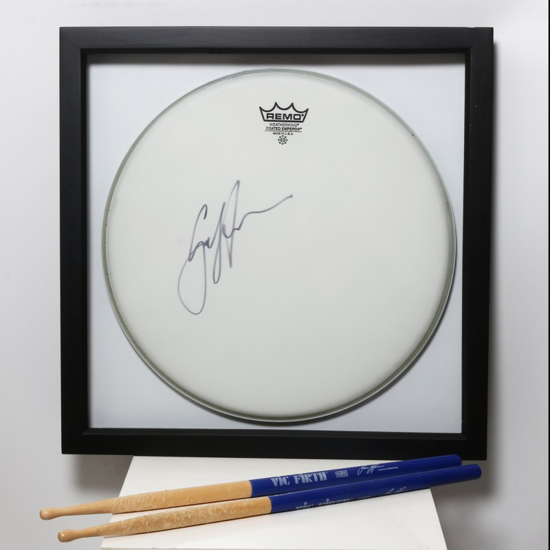 Gavin Harrison ,Porcupine Tree/King Crimson - Signed and Framed Drum Head and Sticks