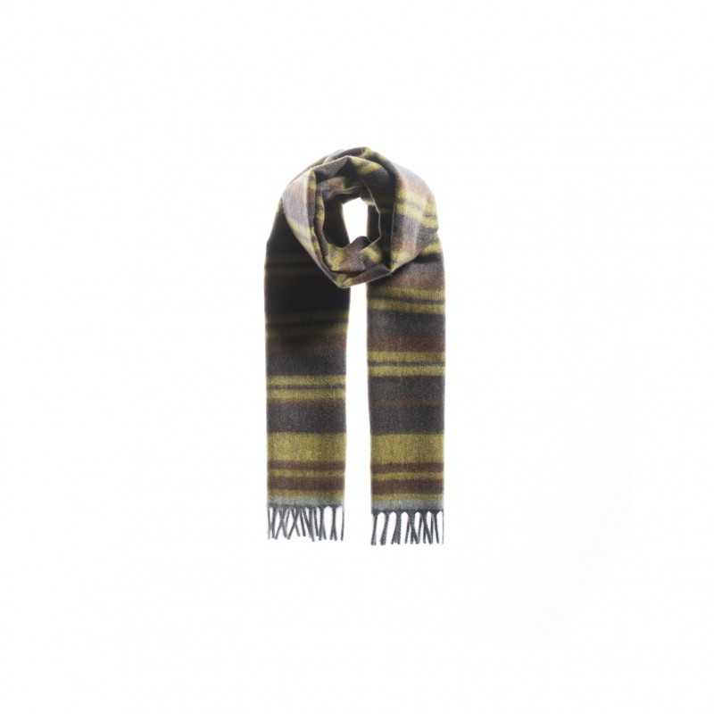 Gray and Yellow Striped Cashmere Scarf