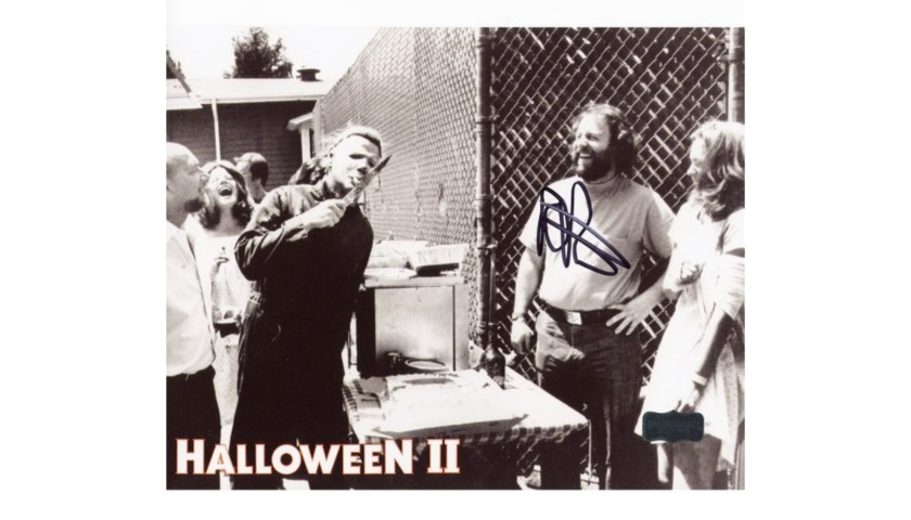 Rick Rosenthal Signed Halloween 2 Photo with Myers Licking Knife