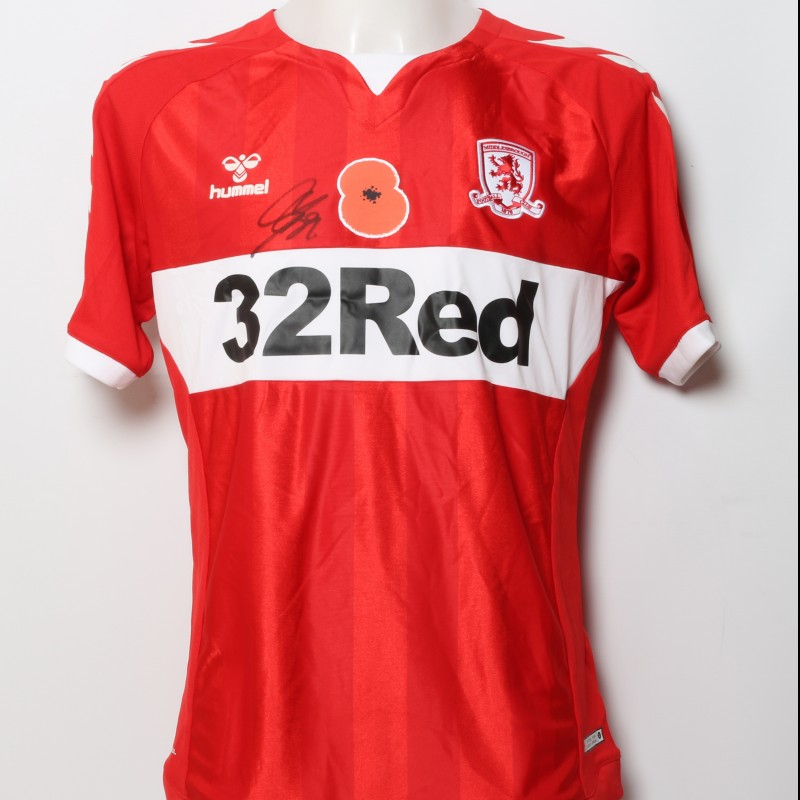 Rudy Gestede's Middlesbrough Worn and Signed Home Poppy Shirt