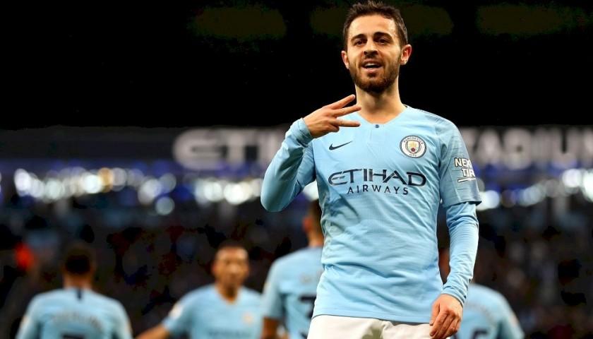 Bernardo's Manchester City Match White Shorts, Premier League 2018/19