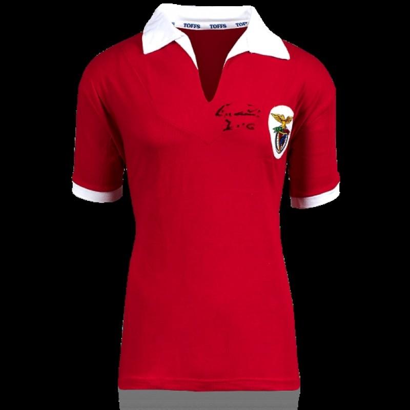 Eusebio Retro Benfica Jersey Signed