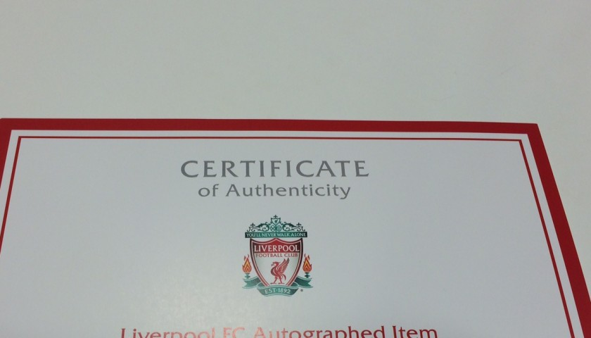 Limited edition 'Seeing is Believing' 2014/15 Liverpool FC shirt signed by Joe Allen