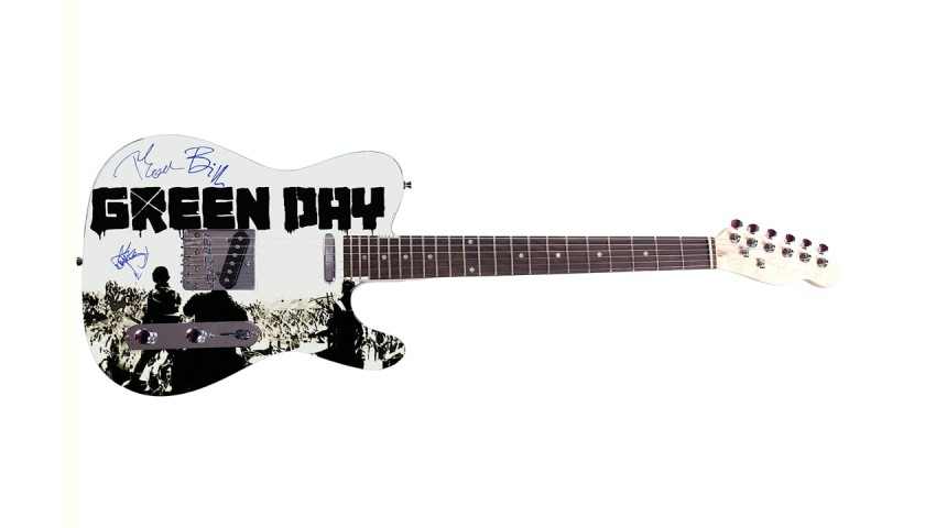 Green Day Guitar with Digital Signatures