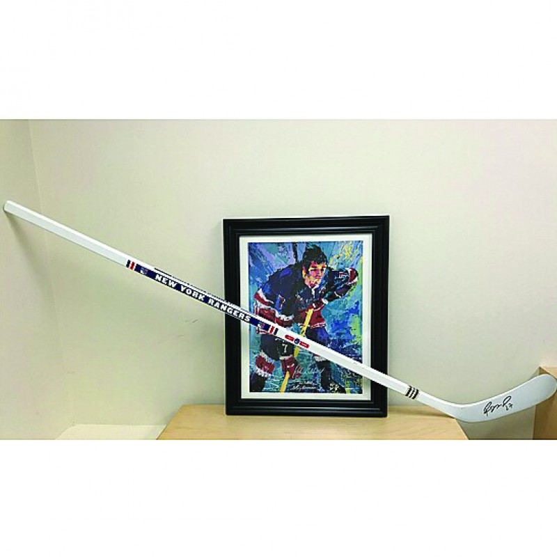 Hockey Stick and Art Signed by Rod Gilbert