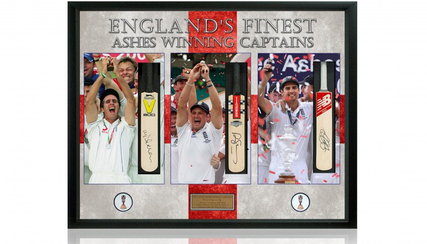 England Ashes Captains Hand Signed by Vaughan, Strauss & Cook Mini Cricket Bat Presentation