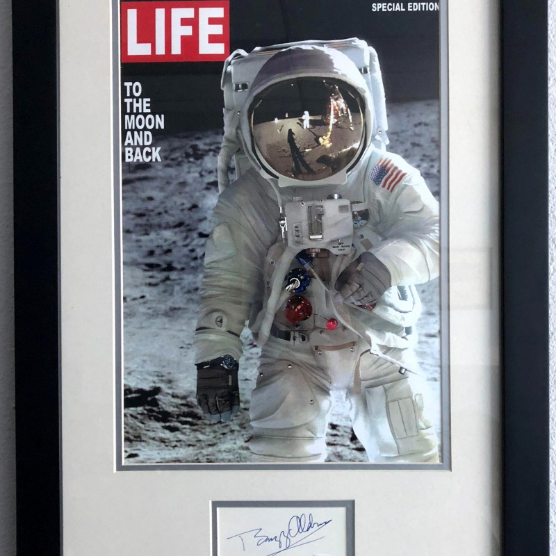 """Buzz Aldrin Signed """"To the Moon and Back"""" Framed Magazine Cover"""