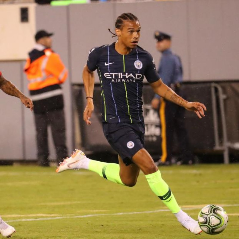 Sané's Manchester City Match Navy/Volt Shorts, Premier League 2018/19