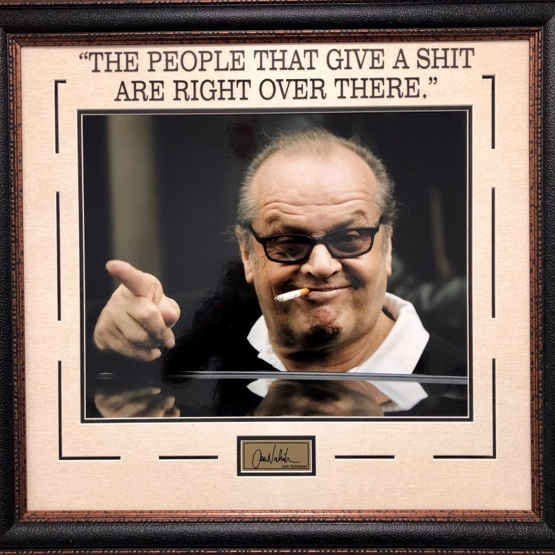 """""""The People that Give a Shit are Right Over There"""" Vintage Photograph Signed by Jack Nicholson"""