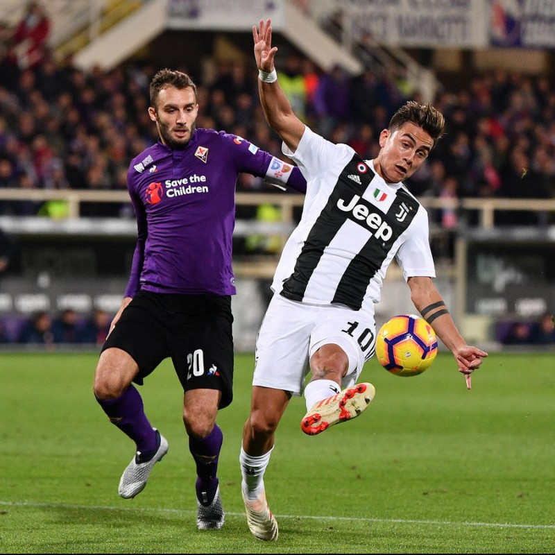 Pezzella's Worn Shirt with Special UNICEF Patch, Fiorentina-Juventus