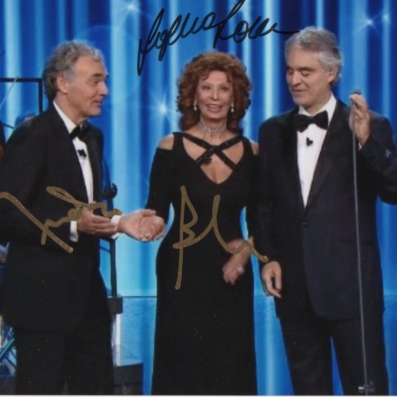 Photograph Signed by Sophia Loren and Andrea Bocelli