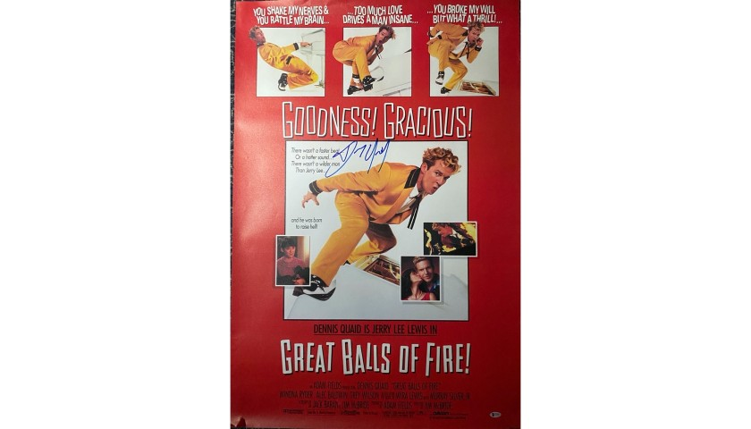 Dennis Quaid Signed Great Balls of Fire Original Movie Poster