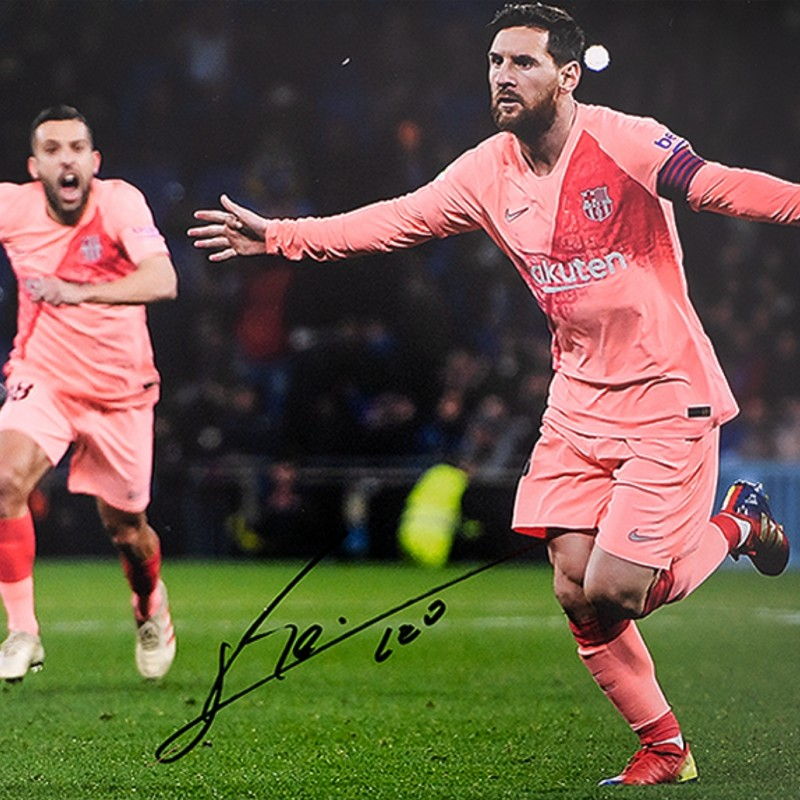 Lionel Messi Official Signed FC Barcelona Photo: Derby Goal vs Espanyol
