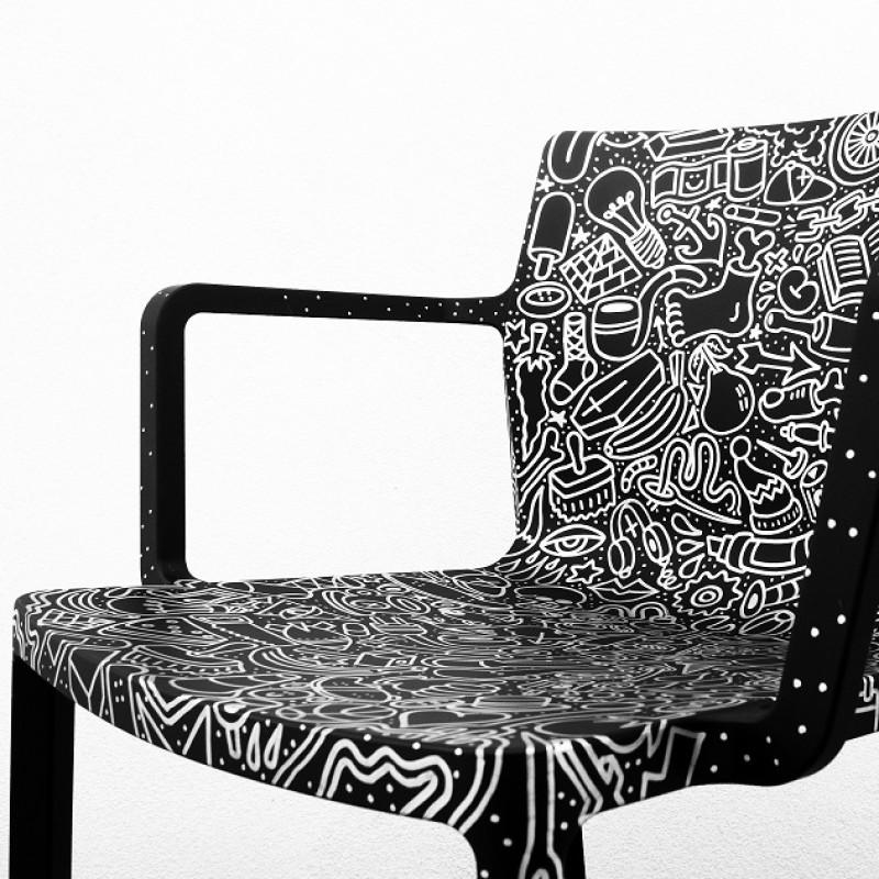 Esclusive chair Kristalia decorated by the artist Cento Canesio
