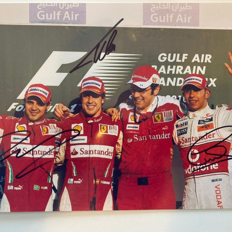 Photograph Signed by Lewis Hamilton, Fernando Alonso and Felipe Massa