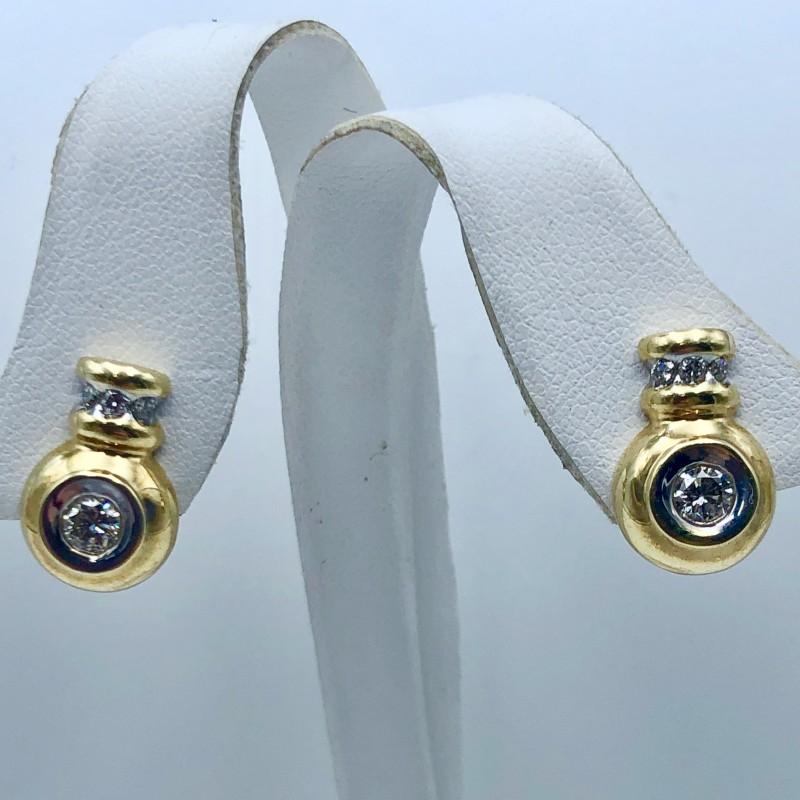 14KT Two-Tone Diamond Earrings
