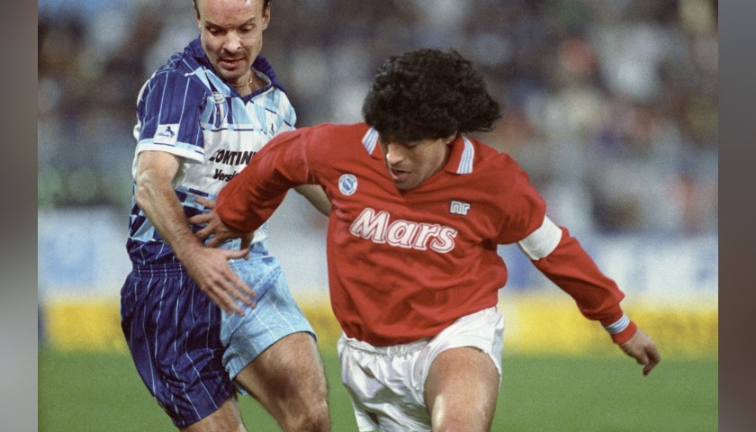 Maradona's Match-Issue/Worn Wettingen-Napoli 1989 Shirt