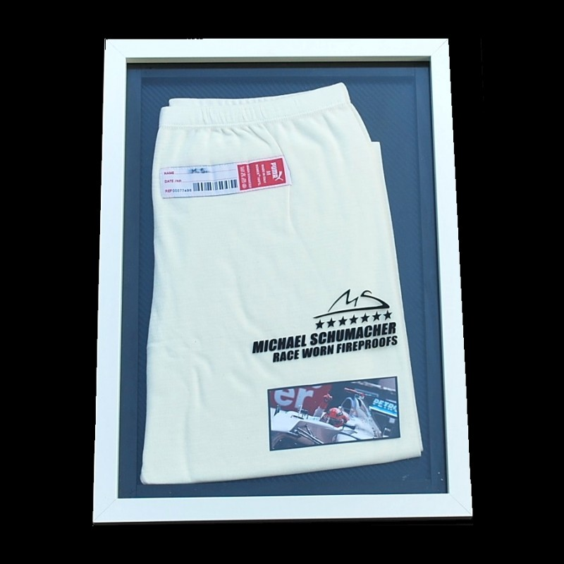 Michael Schumacher's Used and Worn Fireproof Trousers and Framed Print