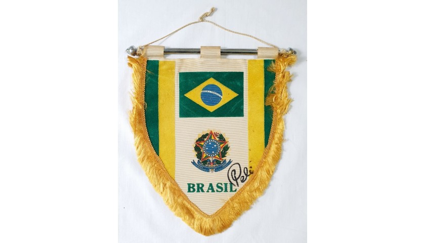 Official Brazil Pennant - Signed by Pele