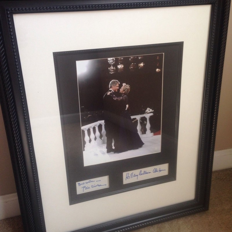 Bill and Hillary Clinton Hand Signed, Custom Framed Display