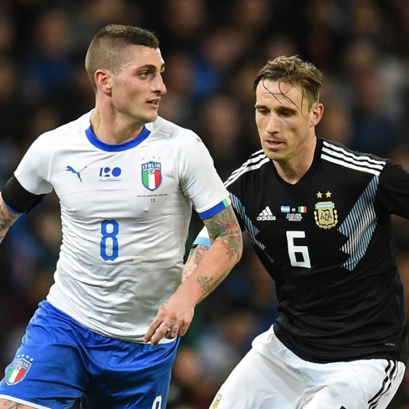 Verratti's Italy-Argentina 2018 Match-Issued Shirt - with Special Patch